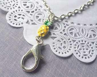 Pineapple lanyard, badge holder, lanyard chain, id card necklace, id card chain, name badge holder, work badge,