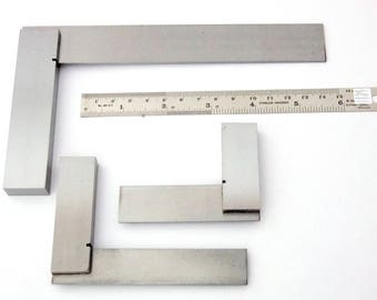 Precise Steel Crafters/Machinists Squares Set Of Three With Ruler