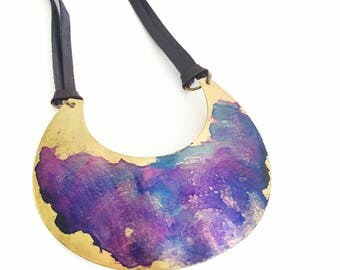 Violet Watercolor Crescent Necklace 4""