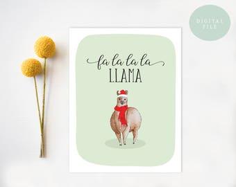 PRINTABLE Christmas Card Funny Christmas Card Llama christmas gift holiday cards funny llama christmas cards printable INSTANT DOWNLOAD