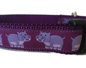 Dog Collar, Hippos,1 inch wide, adjustable, plastic quick release, metal buckle, chain, martingale, hybrid, nylon