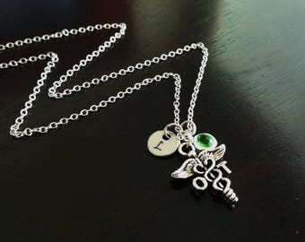 OT Occupational Therapist Therapy Handstamped Personalized Crystal Birthstone Initial Necklace