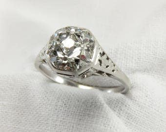 On Sale! Appraisal Value: 11,900.  Circa 1915 Edwardian Platinum Engagement Ring with French Cut Diamonds, VS2 Clarity.