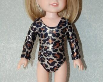 Gymnastics Leotard Doll Clothes Leopard Sparkle handmade for 14.5 inch Wellie Wishers tkct1145 READY TO SHIP