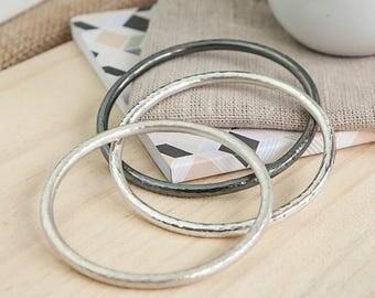 Beaten Halo Bangle, hammered, solid silver bangle, unisex, oxidised bangle