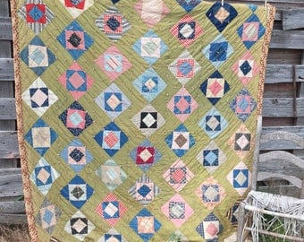 Antique 1920's Heavy Quilt Cotton filled Patchwork Feedsack 76x70 Olive green