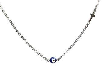 Evil eye cross necklace  -  dark blue - stainless steel - protection - Greek jewelry - Gift for her