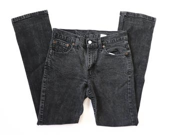 505 Levis Jeans Slim Fit Straight Leg Red Tab Mid-Rise Denim Charcoal Black 90s Pants 1990s Boyfriend Fit 28x32 Size 7 Small 27 28 29 30