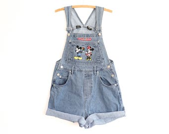 Mickey Mouse Overalls Minnie Mouse 90s Cartoon Disney Denim Jumper Bib Shortalls 1990s Jean Romper Shorts Bibs Pastel Goth Aesthetic Medium
