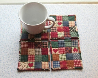 red country hearts with  burgundy  backs hand quilted set of mug rugs coasters