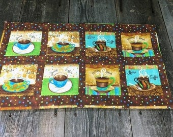 coffee cups hand quilted table runner, center piece
