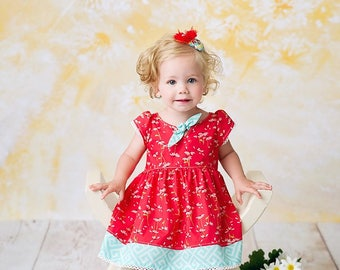 Summer Daisy Days Dress, vintage inspired dress, daisy dress, coral dress, summer dress, sun dress, girls dress, by Melon Monkeys