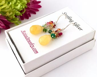 Yellow Jade and Genuine Gemstones Rainbow Gold Earrings. Yellow Jade Gemstone with Rainbow Colorful Sterling Silver Dangle Earrings.