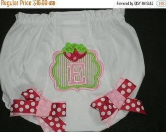 ON SALE Personalized Strawberry Monogram Baby Bloomers Diaper Cover