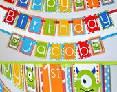 RESERVED - Monster Birthday Party Decorations Banner