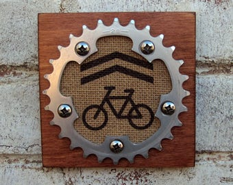 """5""""x5"""" Recycled Bicycle Chainring Sharrow Plaque"""