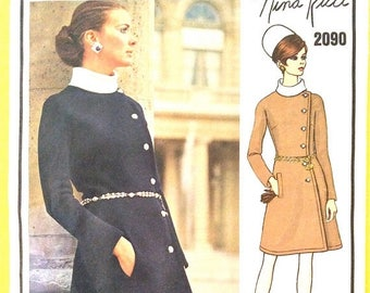 ON SALE Vogue Paris Original 2090 Nina Ricci Designer 60s Misses' Dress A-line wrapped dress fitted bodice gussets Vintage Sewing Pattern Bu