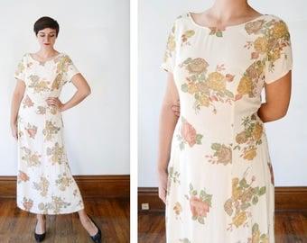 1990s Cream Rose Print Midi Dress - M