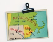 1930s Massachusetts Connecticut Rhode Island  Game Card, Map, Geography, States, Vintage Graphics, Ephemera, Paper