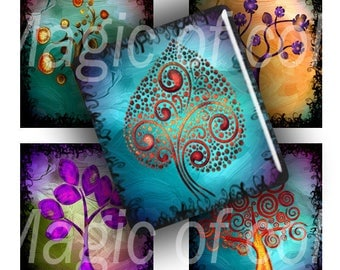 Stylized Curl Colourful Trees - 88  0,75x0,85 Inch  Scrabble images - Digital  Collage Sheet