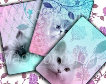 Romantic Cats - 8 Digital ACEO Images - Printable Digital Collage Sheet