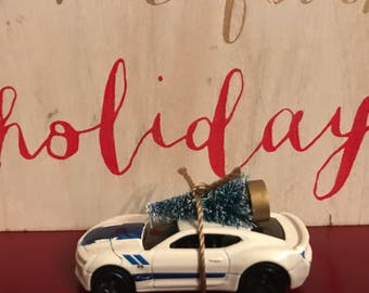 Chevy Camaro Carrying Christmas Tree Ornament