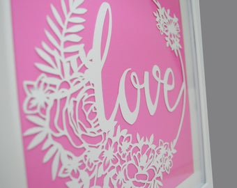 Love - PAPER CUTTING - handmade art, Valentines Day, Paper cut art, flowers, unique wall art, framed paper cut, white paper, circle, flowers