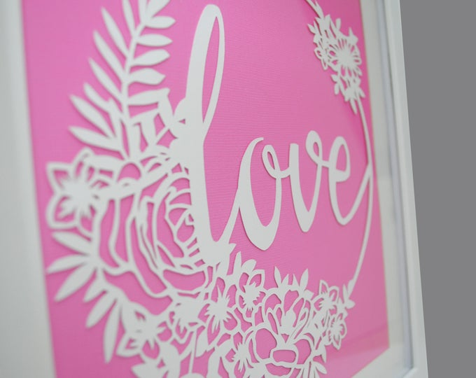 Featured listing image: Love - PAPER CUTTING - handmade art, Valentines Day, Paper cut art, flowers, unique wall art, framed paper cut, white paper, circle, flowers