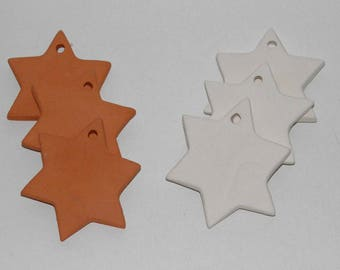 3 Bisque Ceramic Stars 7 cm Handmade Ceramic Ornaments. Star Tiles from Clay. Christmas Favors. Christmas Decoration