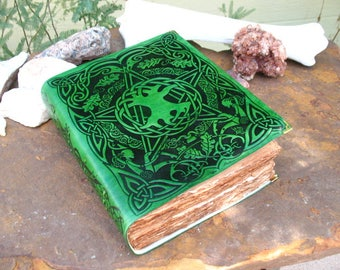 Tree of Life and Pentacle Book of Shadows~Leather bound~Stitched Binding