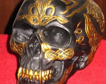 Black and Gold Celtic Vampire Skull~Altar Decoration~Samhain~Halloween