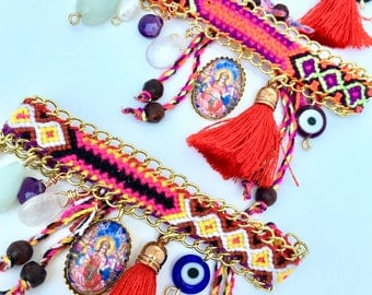 Multi Charm Yoga Bracelet, friendship bracelet with Lakshmi charm
