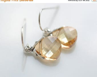 ON SALE Bridesmaid Jewelry Set of 5 Crystal Golden Shadow  Earrings in Silver