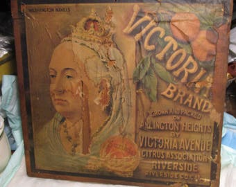 Vintage QUEEN VICTORIA Brand Navel Wood Box Crate End Label primitive oranges country chippy cottage chic potting shed wall decoration