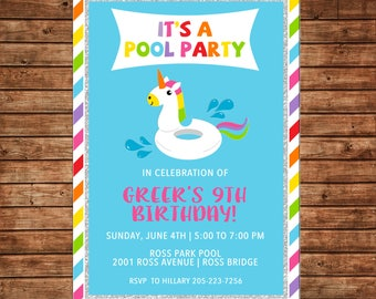 Girl Unicorn Float Swim Swimming Pool Party Beach Birthday Invitation Any Hair Color - DIGITAL FILE