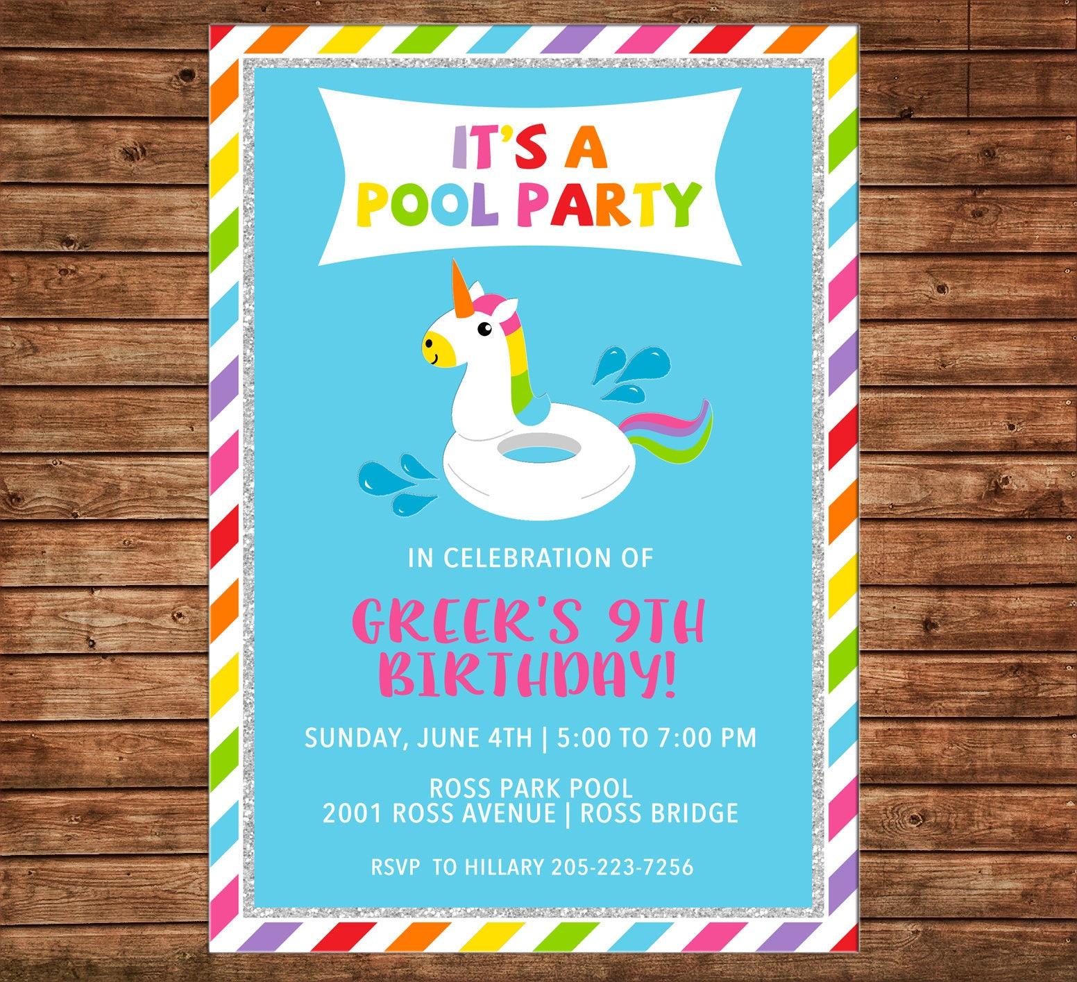 Girl Invitation Unicorn Float Pool Beach Birthday Party ...