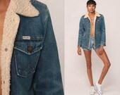 Denim Sherpa Jacket WRANGLER Denim Jacket Shearling 70s Jean Grunge Distressed Biker Coat Blue Coat 1970s Vintage Fleece Extra Small xs xxs