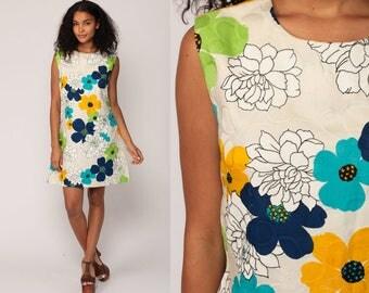 60s Mini Dress Floral Shift Mod Hippie 70s Boho FLOWER POWER Gogo Vintage 1970s Sleeveless Go Go Bohemian White Blue Green Medium