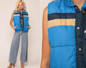 Ski Vest Puffer Vest 70s Vest Striped Puffy Sleeveless Jacket Retro Winter 80s Hipster Vintage 1970s Blue Tan Small