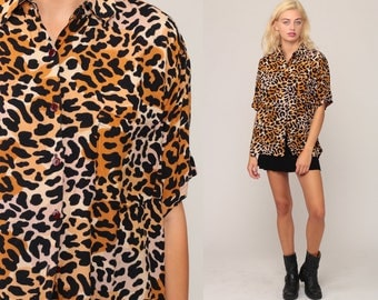 LEOPARD Print Shirt 80s Animal Print Blouse Short Sleeve Button Up Top 90s Collared Vintage Hipster Shirt Collar Extra Large xl