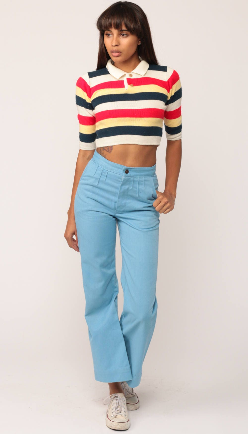 Crop top 80s shirt polo collared striped shirt knit top red for Cropped white collared shirt