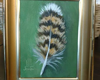 Feather Painting in Frame - (horned owl)