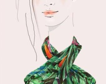 Havanna Nights - hand painted tropical silk scarf