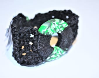 Green and Whilte Polymer Clay Crochet Bracelet