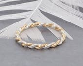 Sterling Silver and Gold Stacking Rings Braided Ring - Dainty Ring Mothers Day Gift - Minimalist Ring - Sister Rings - Best Friend Rings