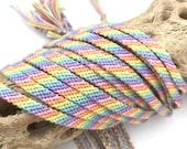 Custom friendship bracelet set - one dozen matched pastel candy stripes