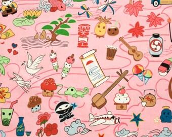 Tomodachi Pink by P & B Textiles Cotton Fabric - 1 yard
