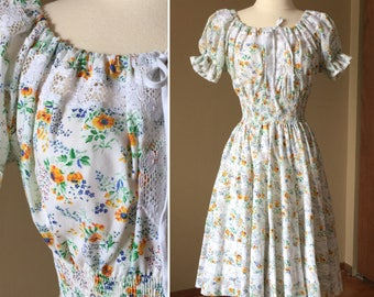 Vintage 1970s Womens Small Dress / Sundress By Partners Please / Floral Cotton Full Circle Skirt Shirred Waist Boho Hippie Prairie Style