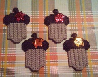 4 Handmade Acorn Magnets Tan