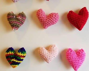 Crochet puffy catnip heart Valentine's Day cat toy